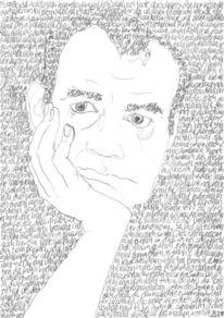 Zeichnung, Täglich, Lineare, Selbstportrait
