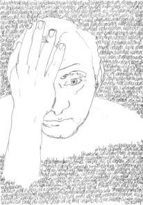 Schrift, Kopf, Reihe, Bleistiftzeichnung