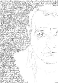 Lineare, Bleistiftzeichnung, Gesicht, Selbstportrait