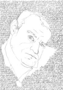 Portrait, Bleistiftzeichnung, Selbstportrait, Gesicht