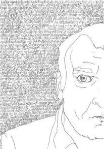 Gesicht, Schwarz weiß, Schrift als struktur, Portrait
