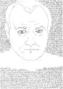 Reihe, Bleistiftzeichnung, Selbstportrait, Schwarz weiß