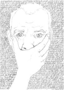 Schrift als struktur, Bleistiftzeichnung, Selbstportrait, Gesicht