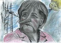 Politik, Karikatur, Windkraft, Merkel