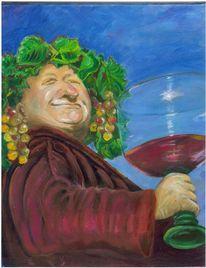 Glas, Bachus, Wein, Grinsen