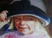 2011, Mädchen mit hut, Aquarell, Malerei