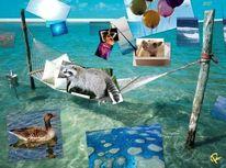 Gänschen, Meerjungfrau, Leichtgasballon, Waschbär