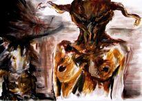 Maske, Akt, Stier, Monster