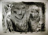 Kohle auf zeichenpapier, Verwicht, Schemenhaft, Abstrakt