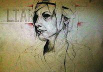 Lügen, Portrait, Frau, Bleistiftzeichnung