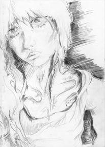 Schwarzer buntstift, Augen, Portrait, Ästhetik