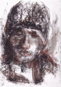 Braun, Bleistiftzeichnung, Rötel, Person