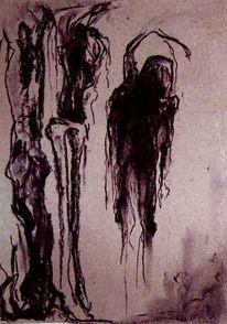 Schwarz, Kohlezeichnung, Geste, Knochen