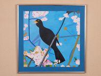 Frühling, Amsel, Vogel, Malerei
