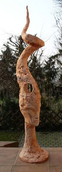 Betonskulptur, Lampe, Frauenportrait, Büste