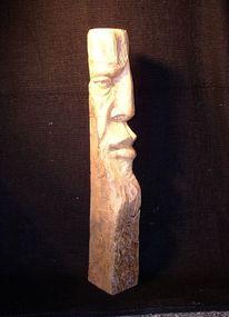Gesicht, Holzskulptur, Baum, Menschen