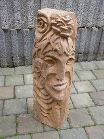 Holzbildhauerei, Balken, Holzfiguren, Holz