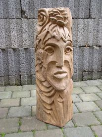 Gesicht, Skulptur, Holzmaske, Holz