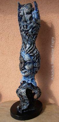 Frau, Stehlampe, Skulptur, Lampe