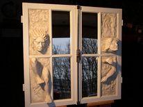 Steinfigur, Spiegel, Skulptur, Wandskulptur