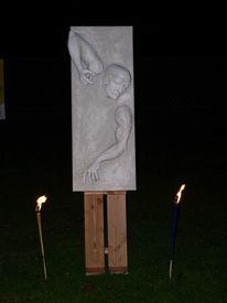 Holzskulptur, Mann, Skulptur, Wandskulptur