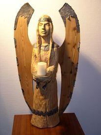 Holzengel, Holzfigur, Menschen, Holzskulptur