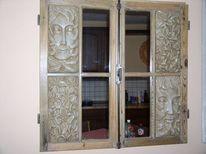 Wandspiegel, Mann, Designspiegel, Steinfigur