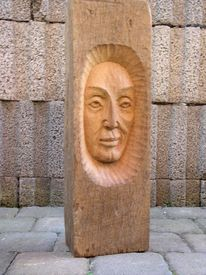 Gesicht, Skulptur, Holzskulptur, Holzbüste