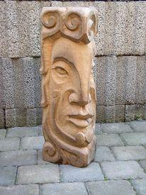 Kopf, Holzfigur, Skulptur, Balken
