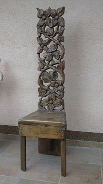 Antiqe stüle, Stuhl, Blumen, Holzstuhl