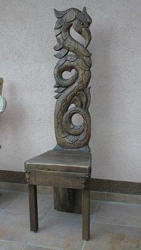 Scuklptur, Holzstuhl, Antik, Holzstuhle