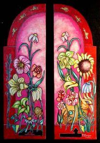 Blumen, Sonnenblumen, Vogel, Pink