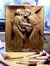 Holzskulptur, Schnitzkunst, Kreuz, Holzfigur