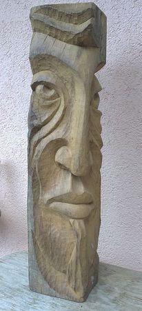 Schnitzkunst, Frauengesicht, Plastikmöbel, Holzfigur