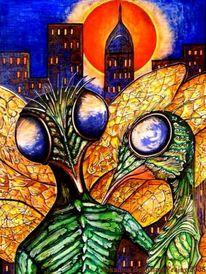 Insekten, Großstadt, Blau, Mücke