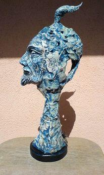 Skulptur, Büste, Lampe, Gesicht