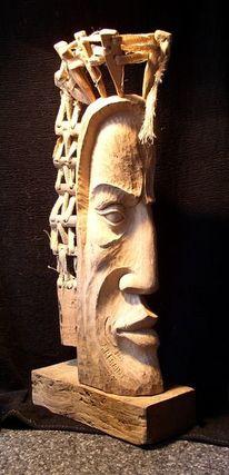 Mann, Baum, Holzskulptur, Scuklptur