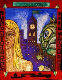 Stadt, Mann, Blau, Turm