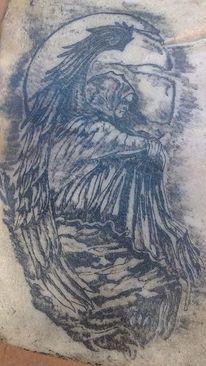 Engel, Schwarze engel, Mund, Tattoo