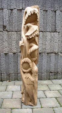 Sonnenblumen, Holzvogel, Skulptur, Blumen