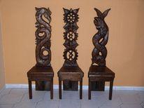 Holzfigur, Design stühle, Holzstuhle, Skulptur
