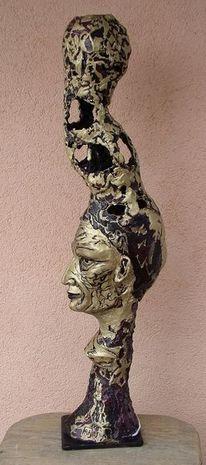 Lampe, Kopf, Skulptur, Schnitzkunst