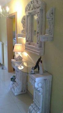 Spiegel, Skulptur, Wandkerzenhalter, Säule