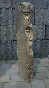 Holzfigur, Paradiesvogel, Holzskulptur, Frau