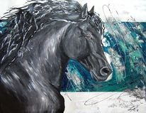 Mischtechnik, Acrylmalerei, Pferde, Pferdeportrait