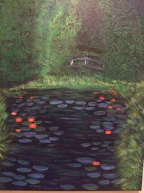 Malerei, Seerosenteich, Brücke