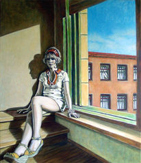Figur, Ölmalerei, Leere, Mädchen