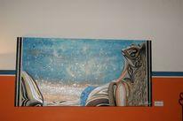 Frau, Strand, Sonne, Malerei