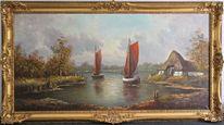 Impressionismus, Fachwerk, Ölmalerei, Fischerboot