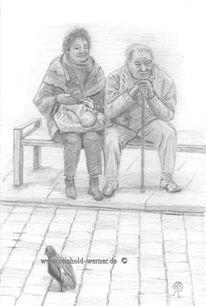Realistische zeichnung, Ehepaar bushaltestelle, Bleistiftzeichnung, Zeichnung